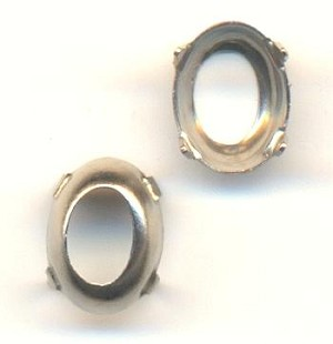 8x6mm Silver OB Oval Settings