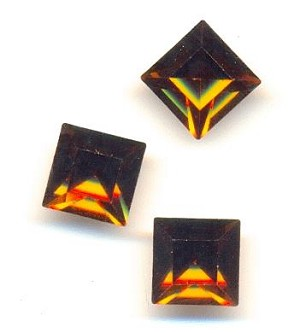 8mm Swarovski Smoked Topaz Square RS