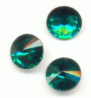 10mm Emerald/Green Zircon Rivoli RS