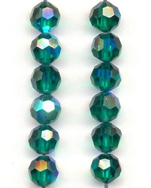 6mm Swarovski Emerald AB Faceted Beads