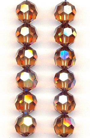 10mm Swarovski Smoked Topaz AB Beads