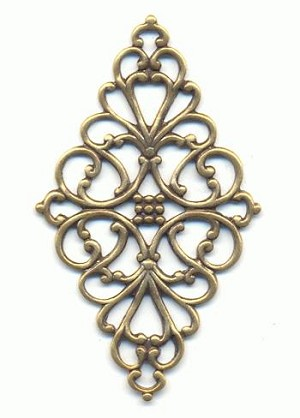 1 3/4'' x 1'' Antique Brass Filigree