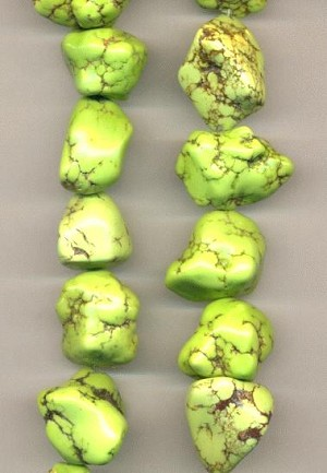 16'' Strand of Lime Green Nugget Beads