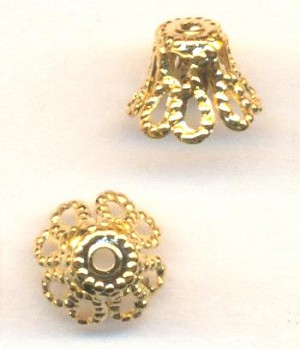 6.5mm Gold Plate Filigree Bead Caps