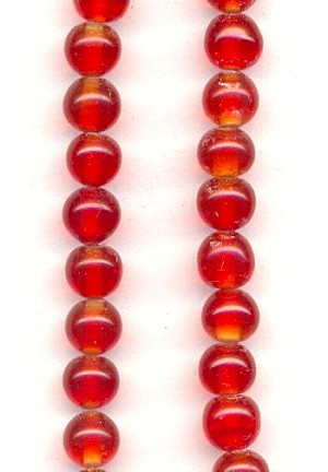 6mm Siam Ruby Glass Beads