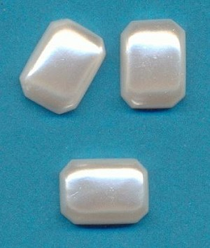 14x10mm White Pearl Acrylic FB Octagon