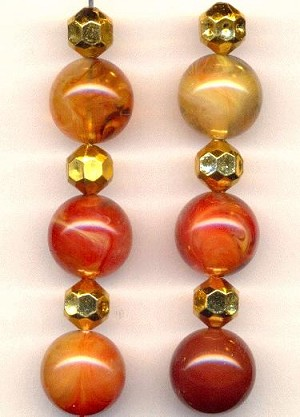 Mixed Lot Tan Marble And Gold Beads