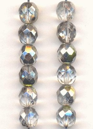 8mm Crystal AB/Silver Faceted Beads
