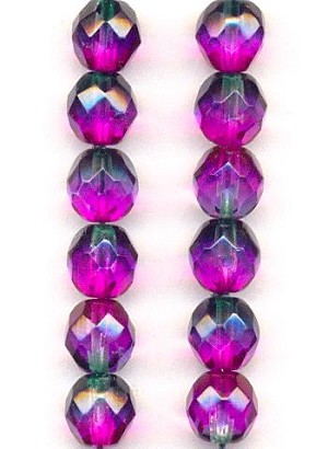 8mm Fuchsia/Emerald Faceted Glass Beads