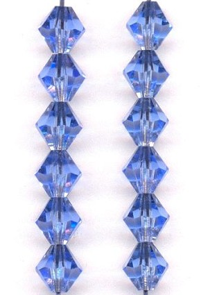8mm Light Sapphire MC Bicone Beads