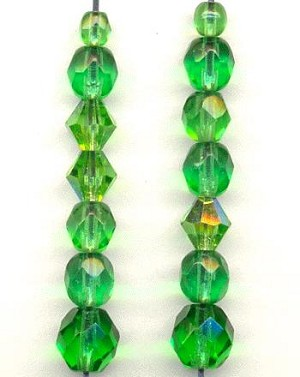 Mixed Emerald AB Faceted Glass Beads