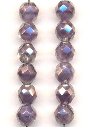 8mm Lavender Luster Faceted Glass Beads