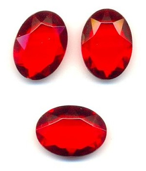 18x13mm Siam Ruby Acrylic Oval Stones
