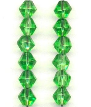 6mm Transparent Peridot Bicone Beads