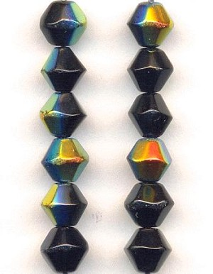 6mm Jet AB Glass Bicone Beads