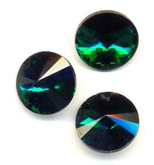 14mm Emerald/Green Zircon Rivoli RS