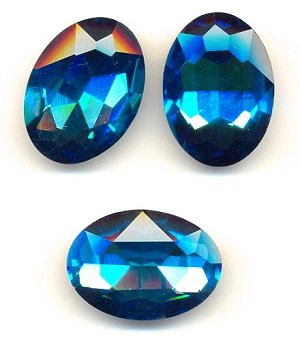 30x20mm Aquamarine Oval Rhinestone