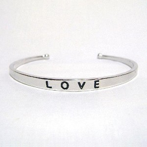 5.5mm Silver Plated ''LOVE'' Cuff Bracelet