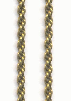 2mm Antique Brass Plated Rope Chain