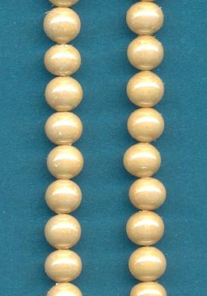 6mm Beige Pearl Glass Beads