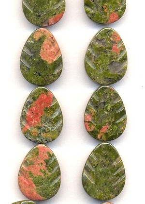 19.8x14.8mm Unakite Leaf Drops