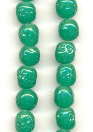 10mm Jade Pressed Glass Baroque Beads