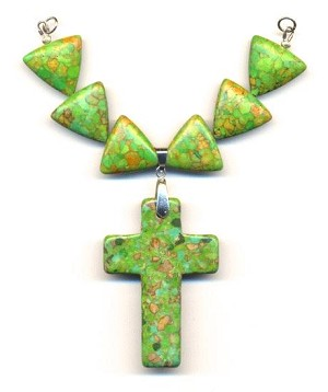5'' Green Mosaic Magnesite Cross Necklace
