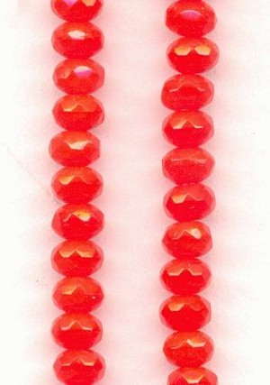 5x3.5mm Orange Faceted Donut Beads