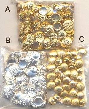 Mixed Lot of 7mm-14mm Plated Buttons