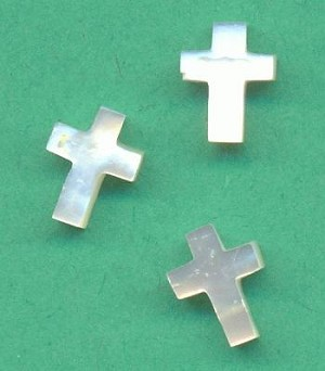8x6mm Mother-of-Pearl Drilled Cross