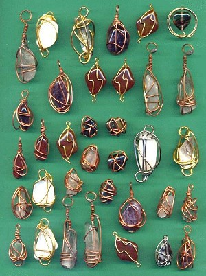Mixed SemiPrecious Wire Wrapped Pendants