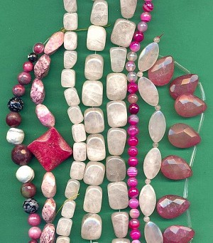 Mixed Lot Pink Quartz & Agate Beads