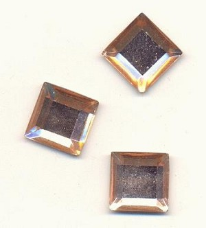 12mm Peach Square FB Rhinestones