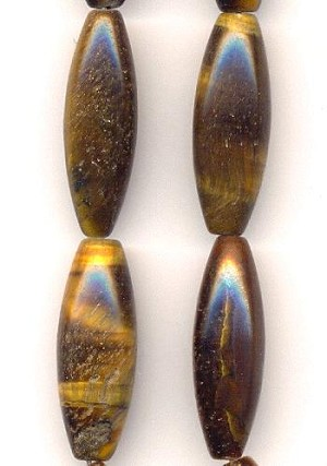 30x10mm Tiger's Eye Long Oval Bead