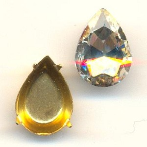 14x10mm Chinese Crystal Pear/Setting