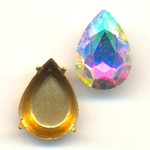 14x10mm Chinese Crystal AB Pear/Setting