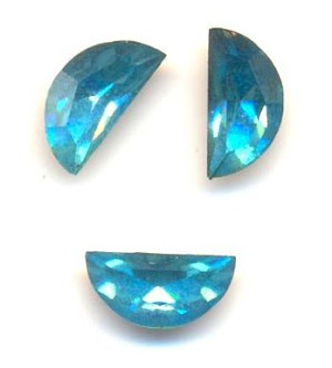 8x4mm Swarovski Aquamarine Half Moon RS