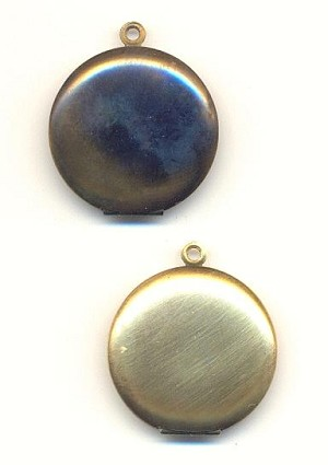 25mm Round Brass Lockets (Dark)