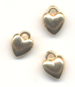 8x6mm Metalized Plastic Heart Charms