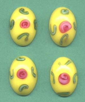 18x13mm Yellow Abstract Floral Stone