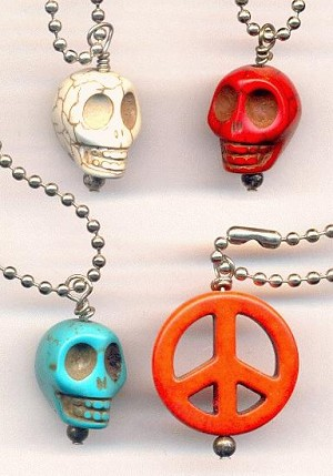 Mixed 16'' Skull & Peace Sign Necklaces
