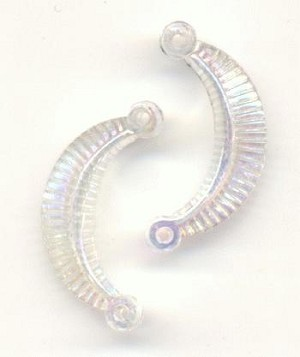 20x10mm Clear AB Acrylic Half-Moon Beads
