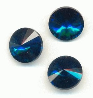 12mm Blue Zircon/Indicolite Rivoli RS