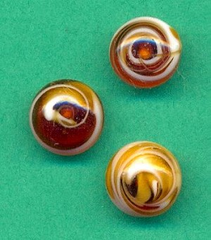 8mm Amber/White Swirl Glass