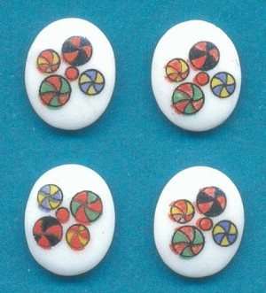 10x8mm Multi-Color Spotted White Ovals