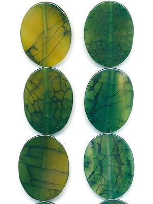 42x32mm Green/Yellow Agate Oval Beads