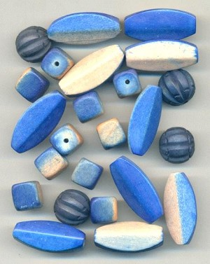 Mixed Lot of Wooden/Blue Beads