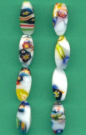 20x8mm Vintage Millefiori Glass Beads