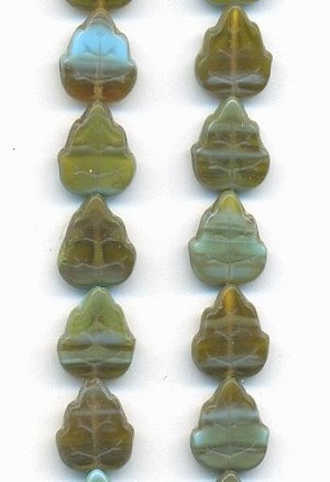 13x10.5mm Green/Turquoise Leaf Beads