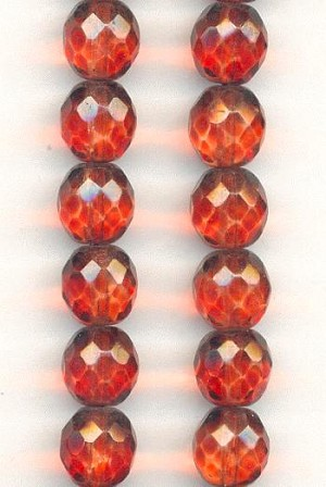 10mm Madeira Topaz Faceted Glass Beads